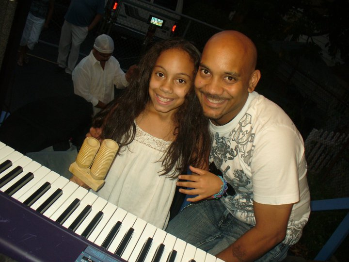 my daughter,& me on stage at the Sagrada Familia Fest. 2010.