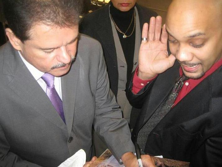 Mr. Lalo Rodriguez signing my record!
